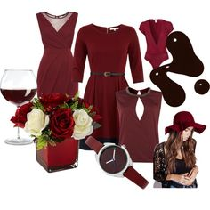 Burgundy by trilobitka on Polyvore featuring Uttam Boutique, TFNC, Therapy, Oneness, Oasis and Missguided