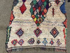 """STAINED GLASS WINDOW Vintage Moroccan Boucherouite rug #221g 59""""x80"""""""