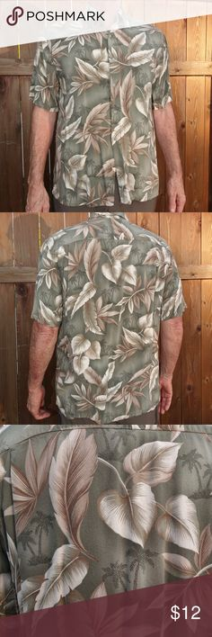 Men's Tropical Hawaiian style shirt Super soft men's shirt with a pattern of tropical leaves. He'll reach for this one all summer and bring it on vacation.  100% rayon, machine wash cold. croft & barrow Shirts Casual Button Down Shirts