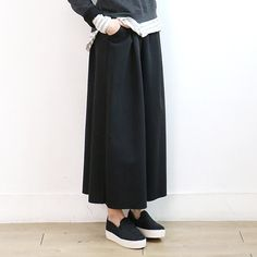 Plain Wide Leg Pants