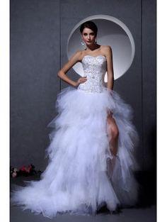 Satyny i koronki kochanie asymetryczny-line suknia ślubna