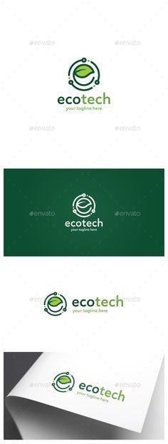 Eco Tech Logo: Nature Green Logo Design Template by Denzla. Tech Branding, Tech Logos, Hi Tech Logo, Logo Design Template, Logo Templates, Round Logo Design, Eco Brand, Ecology Design, Natural Disasters