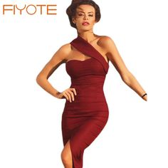 Pas cher FIYOTE Sexy Robe Femme Beauté Merveilleuse Asymétrique Midi Robe…