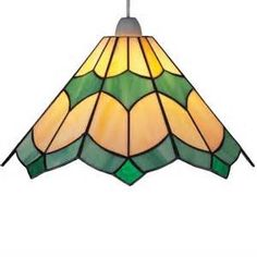 Tiffany Bistro Stained Glass Green Ceiling Light Pendant - 30cms