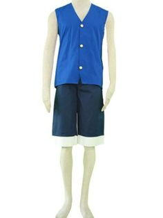 One Piece Luffy Blue Cosplay Outfits Costumes