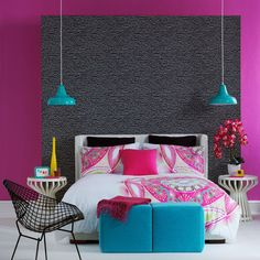 Vibrant sultry bedroom    Team a palette of super-charged brights with darks for a sleek sultry look worthy of any bedroom. Statement furniture such as this wire chair helps to give a real wow factor.