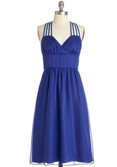 Come On, Get Strappy Dress. Your perky, positive attitude is even more amplified when the sun is streaming down in abundance, so you slip on this strappy party dress, then head out to greet it! #blue #wedding #bridesmaidNaN