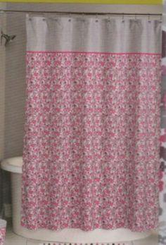 Shower Curtain Loft Leah Hot Pink Gray Purple Fun Floral Print Chic Fabric NEW