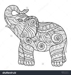 stock-vector-stylized-elephant-in-a-graphic-style-vector-illustration-zen-tangle-250087672.jpg (1500×1600)