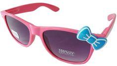 Sanrio Hello Kitty Style Designer Inspired Classic Wayfarer Sunglasses - Neon Pink with Light Blue Bow