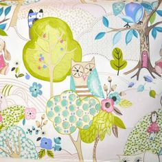 A pretty whimsical woodland fabric featuring all your favourite woodland animals, ideal for a childrens bedroom