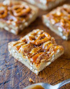 Salted Caramel Pretzel Blondies: unsalted butter, egg, light brown sugar, vanilla extract, all-purpose flour, mini pretzels, salted caramel sauce
