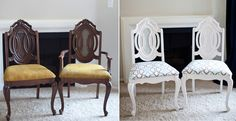 Painting and Upholstering Dining Chairs-Before & After