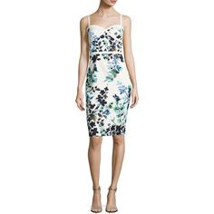 Black Halo Daria Sleeveless Floral Sweetheart Cocktail Dress ($375) ❤ liked on Polyvore featuring dresses, green pattern, green dress, black halo dress, floral print dress, sweetheart neckline cocktail dress and print dresses