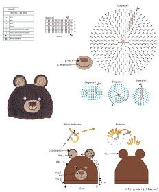 Receita de Crochê Infantil: GORRO URSINHO EM CROCHÊ