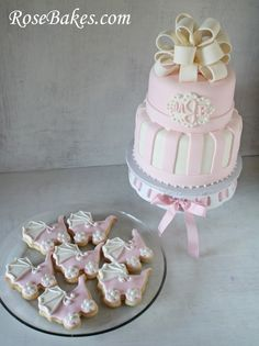 Pink & White Baby Shower Cake and Carriage Cookies.  Monogram on the cake, plus stripes & sugar pearls.