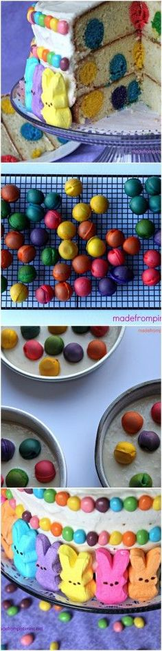 Polka Dot Cake - Perfect surprise on the inside for Easter. This is so easy to make with boxed cake mix.