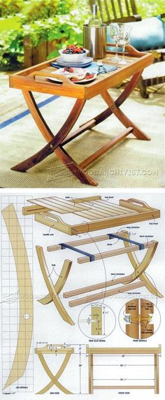 Folding Serving Tray Table Plans - Outdoor Furniture Plans and Projects   WoodArchivist.com