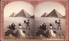 1882 Stereocard of Egypt. taken with two lenses it gave the effect of three dimensional depth. a popular victorian parlour activity stereocards became highly collectible, especially in the United states.