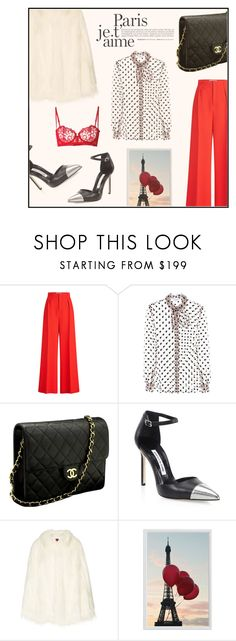 """""""Paris"""" by ceci4diplomazy ❤ liked on Polyvore featuring Roland Mouret, Isa Arfen, Chanel, Manolo Blahnik, House of Fluff, Pottery Barn and La Perla"""