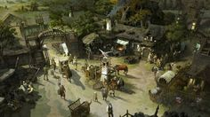 Fantasy town square Fantasy town Cool paintings Concept art