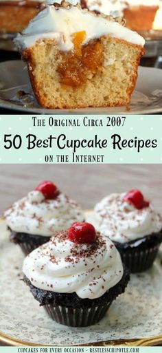 """50 best cupcake recipes - a creative collection from bloggers all over the Internet.!Easy """"from scratch"""" recipe ideas for all occasions. Chocolate, vanilla, filled, birthday, and more! Click through to see what I'm talking about!  From RestlessChipotle.com"""