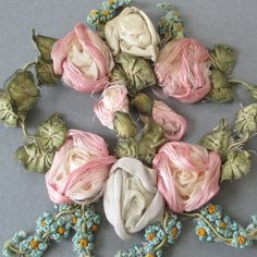 """2 Antique c1920s HM French SILK Ribbonwork 4"""" ROSE Swags Forget-Me-Nots FLOWERS"""