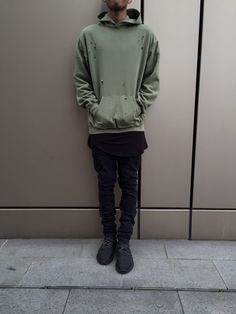 """blvck-zoid: """" MILITARY GREEN DISTRESSED HOODIE Available At: ALLEYN """""""