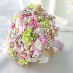 Pink Bridal Bouquet, SeaShell Bouquet, Brooch Bouqet,