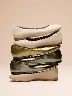 Dance into the party season in these soft leather Lauren ballerinas with pretty scalloped edging in ultra feminine muted and metallic shades