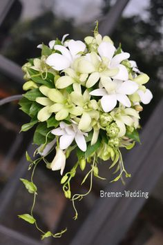 ウェディングブーケのデザイン集-デンファレのブーケ Bride Bouquets, Floral Bouquets, White Orchid Bouquet, Floral Wedding, Wedding Flowers, Winter Bouquet, Cascade Bouquet, Arte Floral, Flower Decorations