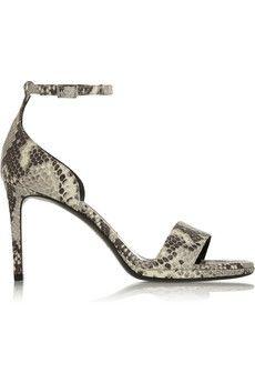 Saint Laurent Jane snake-effect leather sandals | NET-A-PORTER - http://www.net-a-porter.com/it/en/product/512408