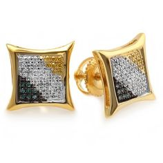 8d55051c8 Yellow Gold Blue, White & Yellow Round Diamond Micro Pave Setting Kite  Shape Stud Earrings CT cttw, I-J, Blue & Yellow Color, Clarity)
