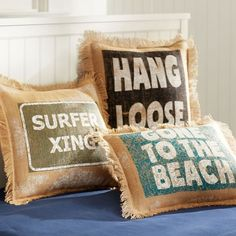 Surf Saying Grain Sack Pillow Cover | PBteen