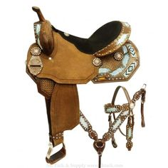 Barrel saddle set with metallic painted feathers and beaded inlay. This saddle features a light chocolate leather with basket tooling and metallic painted feath Barrel Racing Saddles, Barrel Racing Horses, Barrel Horse, Horse Saddles, Barrel Saddles For Sale, Horse Halters, Horse Tack For Sale, Western Horse Tack, Western Saddles