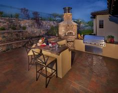 Gorgeous Outdoor Stone Pizza Oven Design With Stone Decoration Ideas Completed With Minimalist Contemporary Outdoor Furniture Style