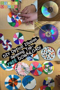 DIY Optical Illusion Spinning Top- FREE Download #STEM