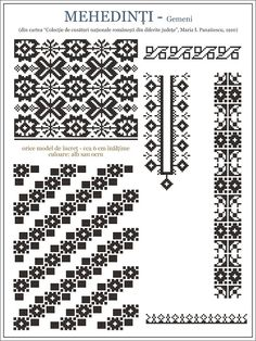 Iie (traditional romanian blouse) from Mehedinti embroidery pattern Hungarian Embroidery, Folk Embroidery, Embroidery Patterns, Cross Stitch Borders, Cross Stitching, Beading Patterns, Cross Stitch Patterns, Embroidery Techniques, Textile Patterns