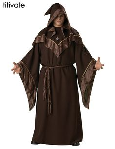 TITIVATE Halloween Costume Mens Gothic Wizard Costume European Religious Priest Uniform Witch Fancy Dress Adult Cosplay Costume