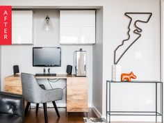 Before & After: A Modern, Masculine Home Office & Lounge