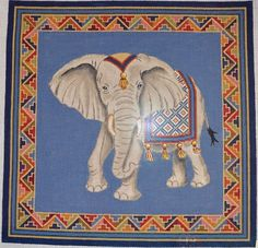 "Maharajah with Tetris Border by CanvasWorks Size: 15.5."" square Mesh Count: 13  $251.00"
