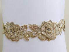 Gold Floral sash, Rhinestone sash, Lace sash, Wedding sash, Bridal gown sash, Dress sash, Flower sash, Jeweled belt, Bling belt,Crystal belt