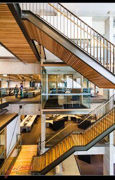 side view of Stairs Concept Architecture, Interior Architecture, Interior Design, Space Interiors, Office Interiors, Stair Railing, Stairs, Atrium Design, Kindergarten Design