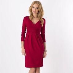 Женские офисные платья Элегантный v-образным вырезом с длинным рукавом Плиссированные Тонкий вечернее платье 8 цветов Bodycon Упаковка Vestidos бедра большие Размеры