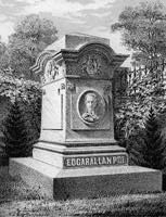 Edgar Allen Poe (1809-1849). was originally buried in an unmarked grave behind a church in Baltimore, Maryland. Over the years, the site became overgrown with weeds. This new memorial was dedicated to Poe on November 17, 1875.