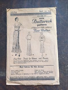 Vintage Butterick Sewing Pattern Flapper Dress 1920s 3574 Complete FF