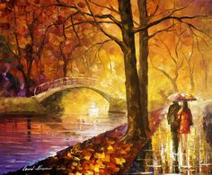 """Dreaming emotions"" by Leonid Afremov ~ I love this as it reminds me of really happy autumn/fall memories"