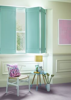 Our latest solid panel shutters in pretty turquoise www.shutterlyfabulous.com
