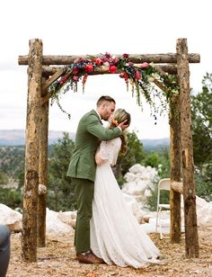 Prairie Coachella Inspired Wedding // rustic floral arch