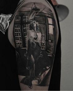 You go girl. Tattoo by Radu Rusu. #inked #inkedmag #tattoo #realism #office #naughty #sexy #beauty #woman